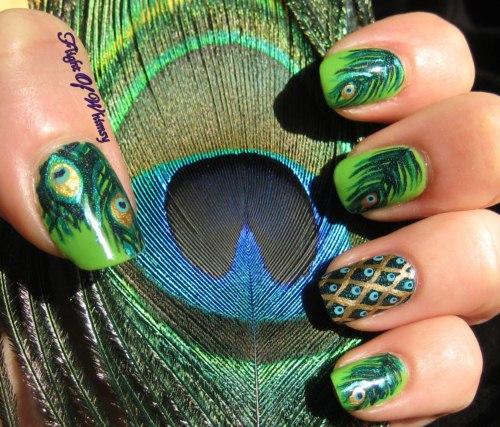 Peacock birds nails art designs (5)