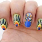 Peacock birds nails art designs (8)