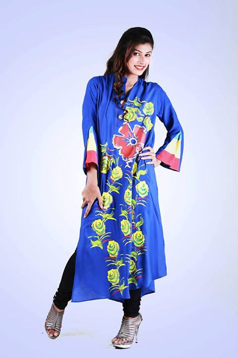 Eid Flower Print Kurta Collection 2013 by Grapes the brand (3)