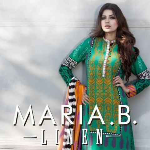 Maria B Latest Linen Winter Dress Collection 2013 (1)