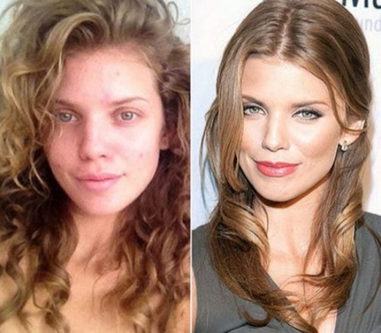 Annalynne McCord with make and without makeup