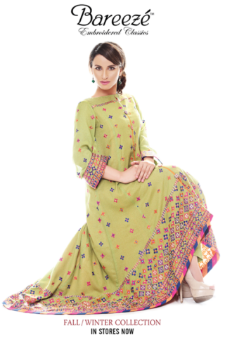 Beautiful Bareeze Classic Embroidered Winter Collection 2013-2014