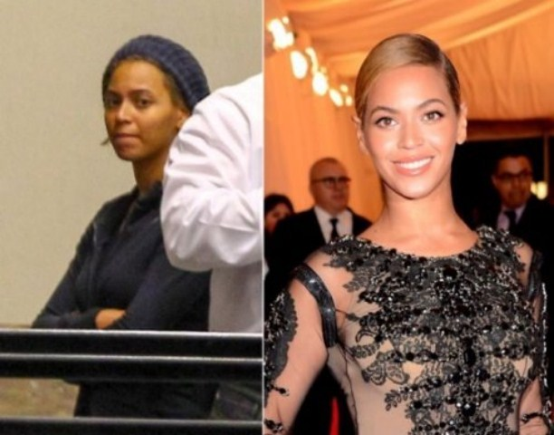 Beyonce Knowles with make and without makeup