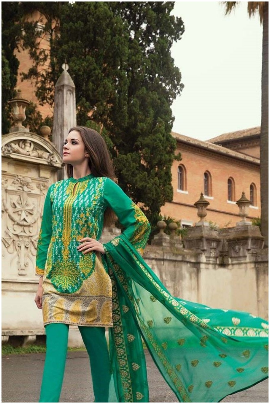Green-Suit-Stitched short kurti with churidar pajama