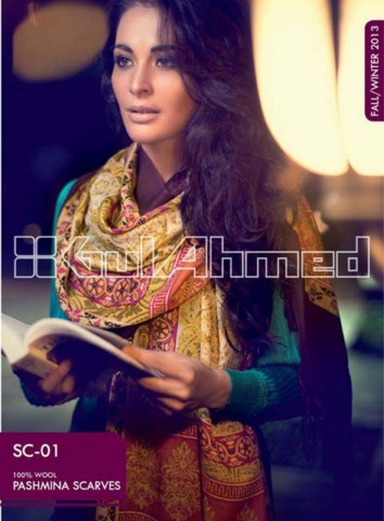 Gul Ahmed Pashmina Scarves Dresses 2013-2014 for Ladies (4)