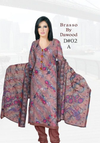 Women Dresses Dawood Textile Ladies Brasso Printed Outfits 2014 (6)