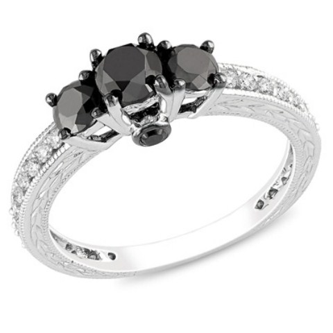 Ladies Zales Black Diamond Rings Collection