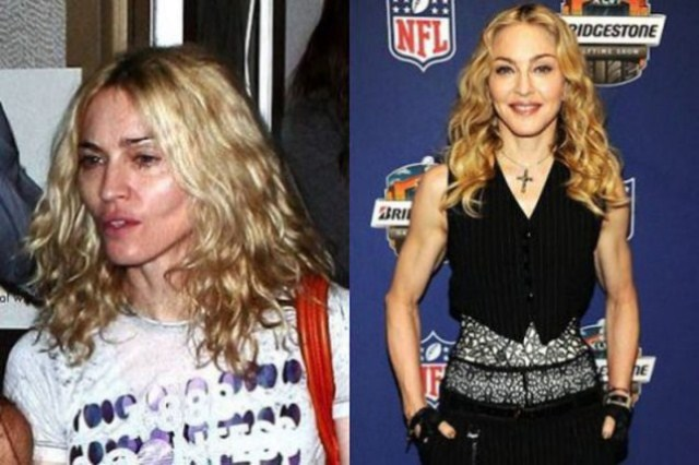 Madonna with make and without makeup