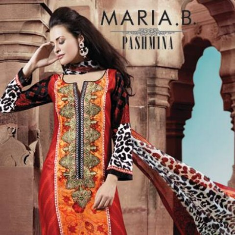 Maria B Pashmina Women Indian Dresses Collection Fashion 2013-14