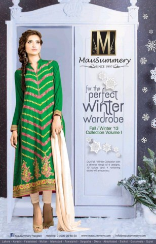 Latest Mausummery Winter Dresses For Girls Collection 2013-14