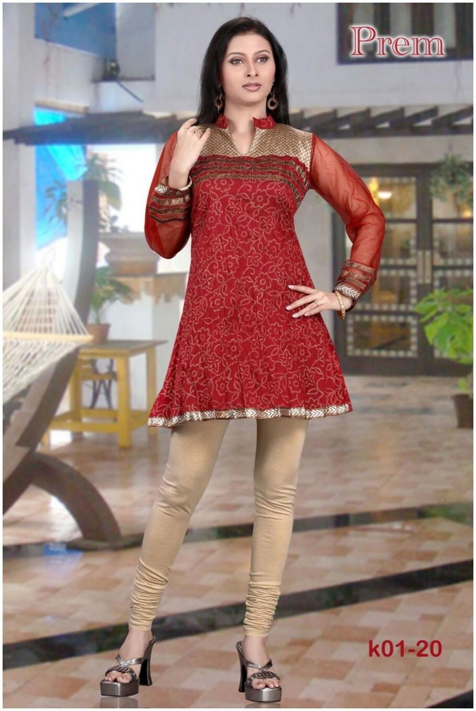 short kurti with churidar pajama for Women