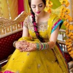 Bridal Mehndi Wedding Waleema Multi Colored Dresses 2014 (14)