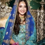 Bridal Mehndi Wedding Waleema Multi Colored Dresses 2014 (9)