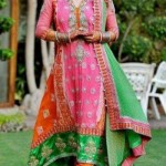 Bridal Mehndi Wedding Waleema Multi Colored Dresses 2014 (1)