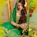 Bridal Mehndi Wedding Waleema Multi Colored Dresses 2014 (2)