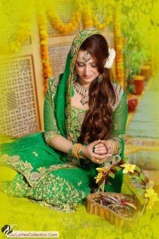 Bridal Mehndi Wedding Waleema Multi Colored Dresses 2014 (2)