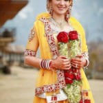 Bridal Mehndi Wedding Waleema Multi Colored Dresses 2014 (4)