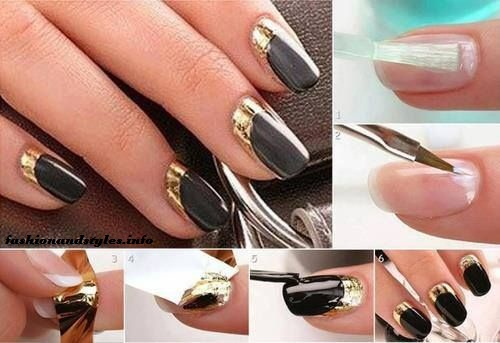Elegant Black and Gold Nail Tutorial for girls