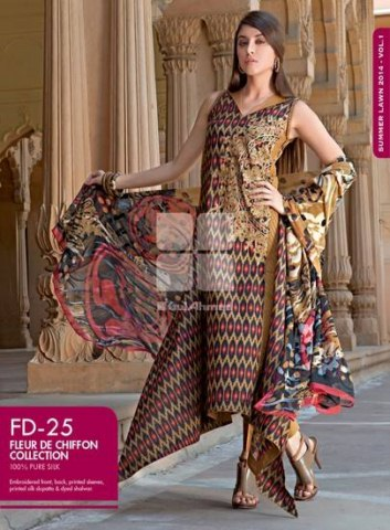 Gul Ahmed fancy lawn spring summer dresses for girls