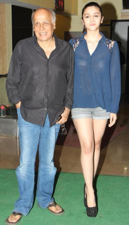 Alia bhat in short dress with her father