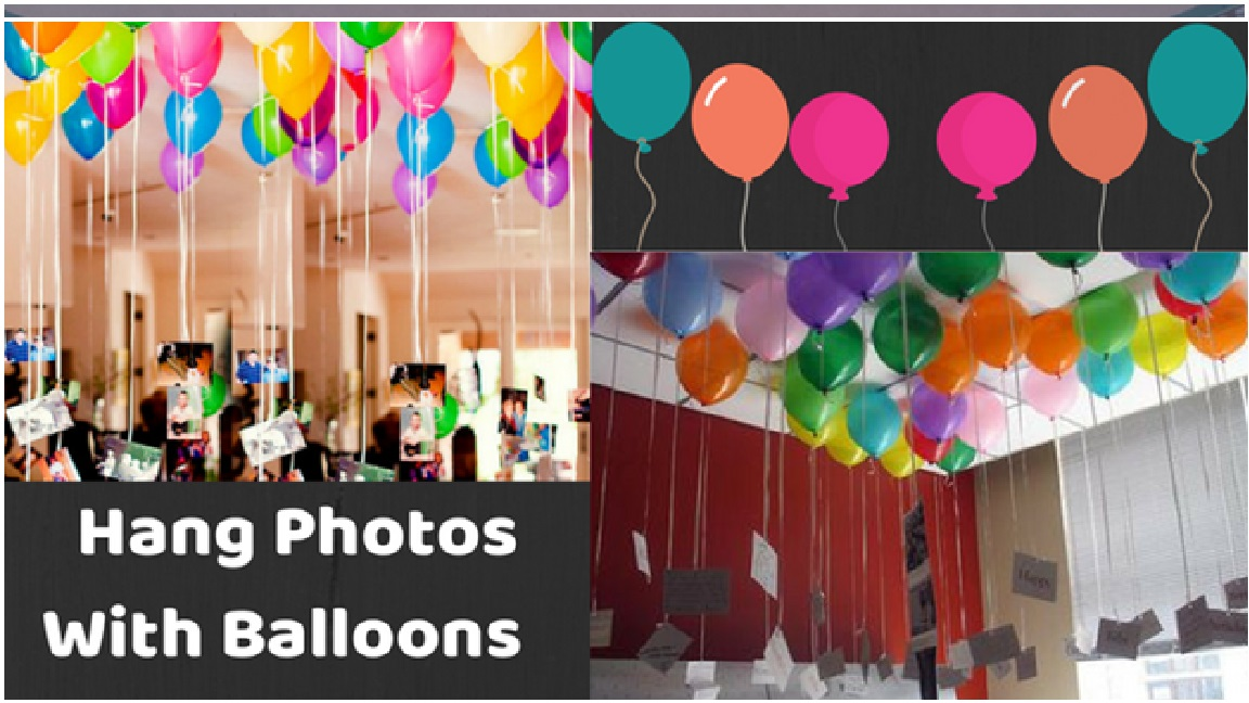 Hang Photos with Balloons. New Ways to Hang a Picture With String for parties