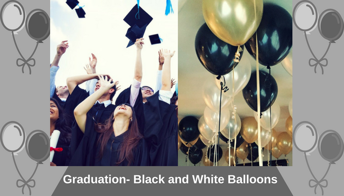 Graduation- Black and White Balloons